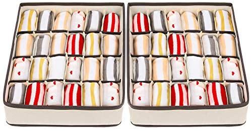 joyoldelf – Caja de Almacenamiento Plegable para cajones – 2 Paquetes – 24 Compartimentos – Organizador para Ropa Interior, Guardar Calcetines, Sujetadores, pañuelos
