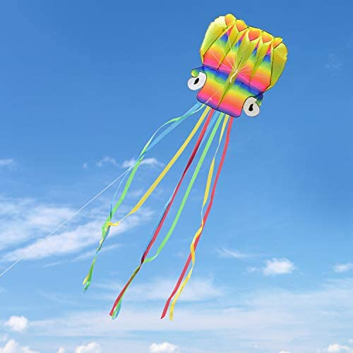 Kupton Cometas con Hermosas Colas para Niños y Adultos, para Actividades y Juegos al Aire Libre (Cometa de Pulpo)