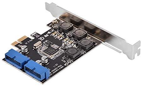 Lazmin Tarjeta Interna PCIE de 2 Puertos USB 3.0, Tarjeta de expansión PCI Express hasta 5 Gbps Chipset Adaptador de Tarjeta USB 3.0 de 19 Patillas con Perfil bajo
