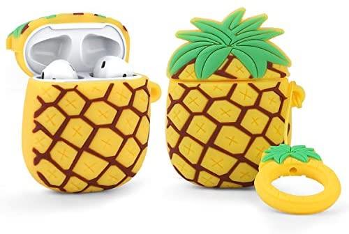LEWOTE Airpods Carcasa de Silicona Compatible con Airpods de Apple 1 y 2 [Diseño de Frutas y Verduras][Niñas o Parejas] (Piña)