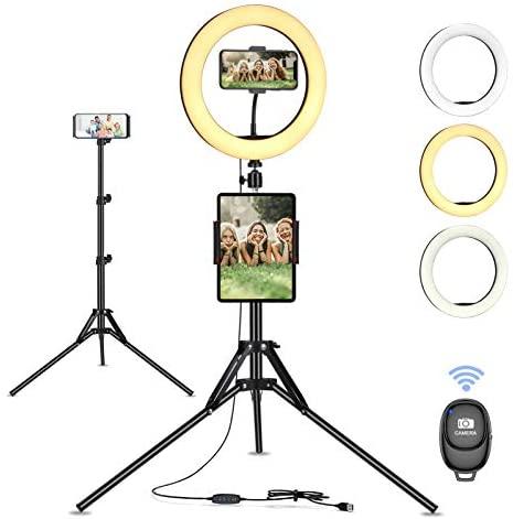 """Linkax Anillo de Luz LED, 10"""" Aro de Luz con Trípode para Movil,Selfie Ring Light Control Remoto Bluetooth,3 Color 10 Brillo para TIK Tok,Transmisión en Vivo, Fotografía, Youtube, Maquillaje"""