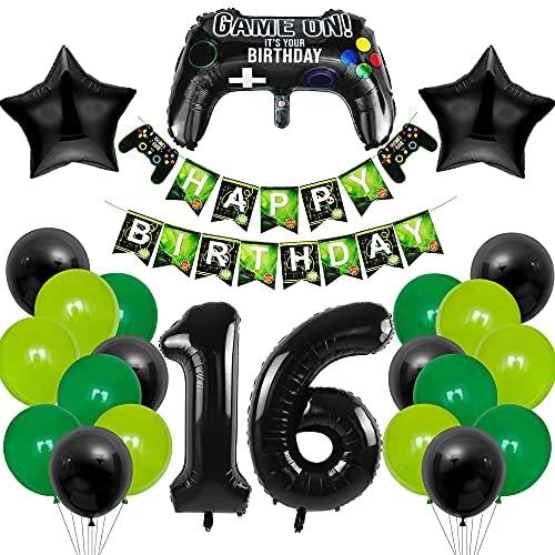 MMTX Globo de Cumpleaños 16 Años, Decoración de Cumpleaños 16, 16er Cumpleaños Globos con Foil Globo Número 16, Artículos de Fiestas para Fanáticos de los Videojuegos Niñas Niño