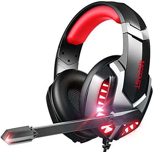 Motast Auriculares Gaming con Cable para PS4/Xbox One/Nintendo Switch, Cascos Gaming con Bass Surround, Auriculares con Micrófono, Cancelación de Ruido, Auriculares Diadema con 3.5mm Jack con Luz LED