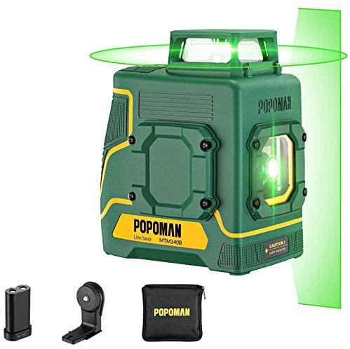 Nivel láser verde POPOMAN, 1×360° línea láser 30m, Carga USB y Batería de litio, 5 Líneas y 360° Giro, Autonivelante, Modo pulsado externo, Soporte Magnético, IP54, Bolsa de transporte – MTM330B