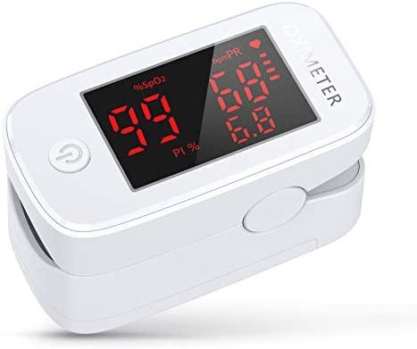 Oxímetro de Dedo KKmier Oxímetro de Pulso Profesional con Pantalla LED, Oxímetro 3 en 1 para medir la saturación de SpO2, (oxígeno en la sangre) PR (frecuencia del pulso) y PI para Adultos y Niños
