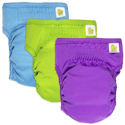 PET MAGASIN Pañales Reutilizables para Perros [Paquete de 3] Pañales Sanitarios para Mascotas, Altamente absorbentes, Lavables a máquina y ecológicos (Solid, XS)