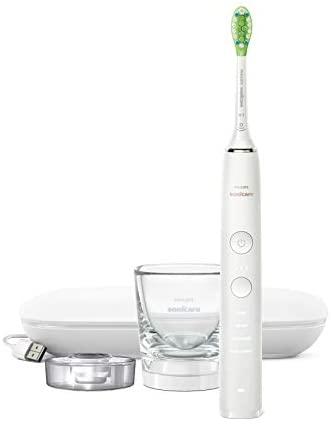 Philips Sonicare DiamondClean S9000 HX9911/03 – Cepillo de dientes eléctrico con cabezal inteligente, sensor de presión, 4 modos, 3 intensidades, vaso cargador, y estuche cargador de viaje, Blanco