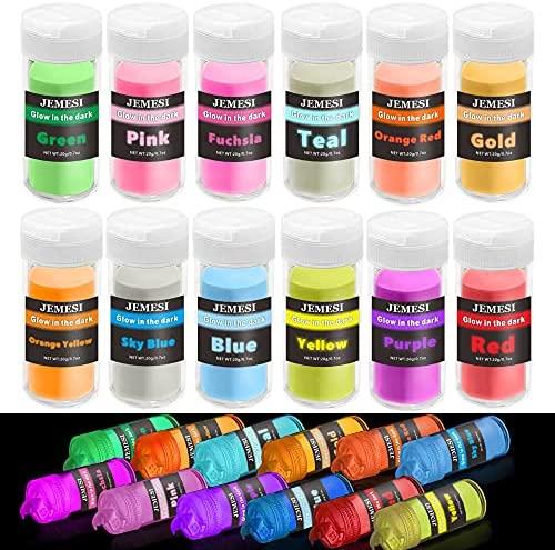 Polvo Fluorescente, JEMESI 12 x 20gr Pigmentos Luminiscente para Pintura, uñas, manualidades, resina epoxi, cara, cuerpo, Pintura en polvo fluorescente