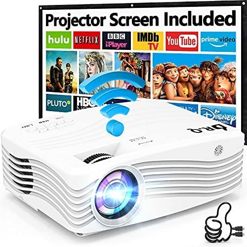 Proyector WiFi 1080P Nativo, 7500 Lúmenes Proyector [con 120″ Pantalla de Proyección], DR.Q Proyector Full HD 1080P Compatible con TV Stick HDMI VGA USB, para Cine Casero y Películas al Aire Libre.