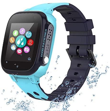 PTHTECHUS Reloj Inteligente para Niños a Prueba de Agua IP67, Teléfono Smartwatch LBS localizador SOS Alarma por Chat de Voz Cámara, Regalo para Niño Niña Reloj Digital de Pulsera, Azul