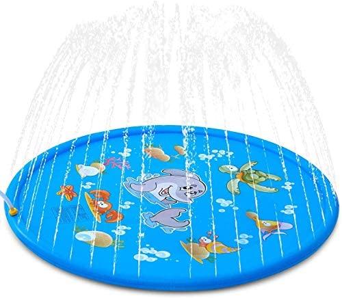 Pulchram Splash Pad , Almohadilla de Aspersión de 170 cm Water Play Mat Party Sprinkler Splash Pad Summer Spray Juguetes para Niños y Mascotas Jardín al Aire Libre Actividades Familiares (Azul 1)