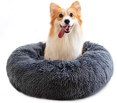 RAINBEAN Pet Bed for Cats and Dogs Plush Round Sofa Cushion Basket Donut Pet Bed Warm Calming Cuddler Kennel Soft Puppy Sleeping Nest,Dark Grey(50cm) …