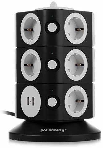 SAFEMORE Regleta de Enchufes Vertical de 11 Tomas Corrientes y 2 Rapida USB, Alargadora Cable de 1,8m con Protección y Interruptor, Torre Ladron Alargador, Base Múltiple, Tapón de Seguridad, 2500W/10A