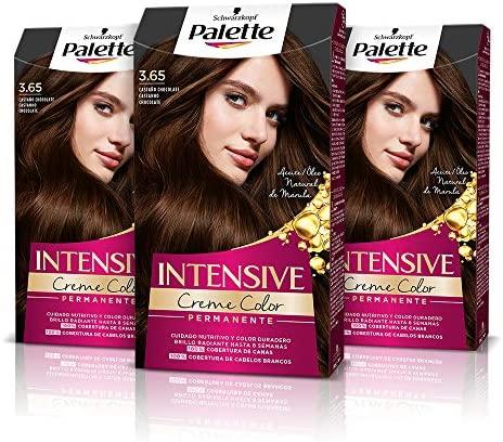 Schwarzkopf Palette Intensive – Tinte 3.65 cabello Castaño Chocolate – Perfecta cobertura de canas – Coloración Permanente de Cuidado con Aceite de Marula – Color duradero hasta 8 semanas (Pack de 3)
