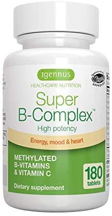 Super B-Complex – Complejo vitamínico B de alta concentración, con las 8 vitaminas B esenciales, metiladas y en forma bioactiva, incluso B6 & B12, además de vitamina C, vegan, 180 comprimidos