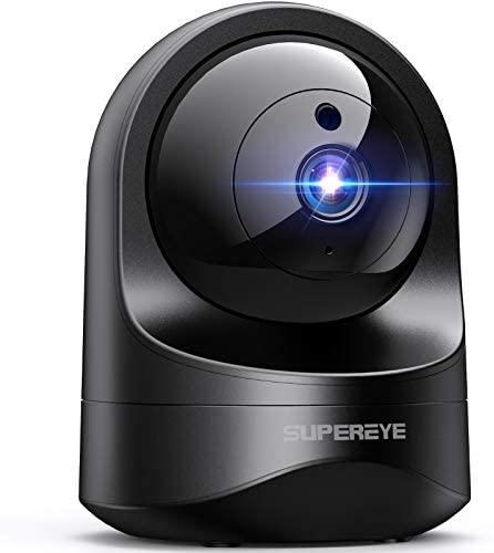 SUPEREYE 1080P Camara Vigilancia WiFi Interior, Cámara IP WiFi con Visión Nocturna, Detección de Movimiento, 10s vídeo App Alerta, Audio de 2 Vías, Monitor Bebé/Anciano/Mascota, Trabajo con Alexa