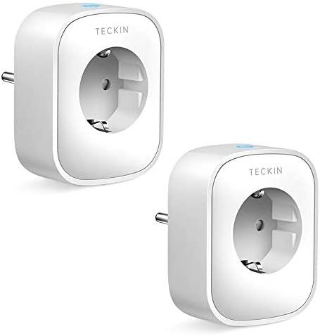TECKIN Enchufe Inteligente, 16A 3680W Enchufe WiFi Con Monitor de Energía, Compatible con Alexa & Google Home, Enchufe con Control Remoto y Función de Temporizado, Tomas de corriente alterna 4 Packs