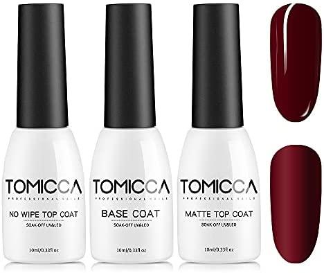 TOMICCA Base Coat and Top Coat Semi Permanent Matte Top Coat 3pcs 10ml, Base y Top Coat de barniz semi permanente