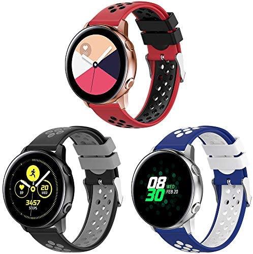 TOPsic 20mm Correa Galaxy Watch Active/Active 2 40mm 44mm/Galaxy Watch 3 41mm/Galaxy Watch 42mm Banda Silicona Pulsera para Vivoactive 3/Forerunner 645/Gear Sport/Gear S2 Classic/Ticwatch 2