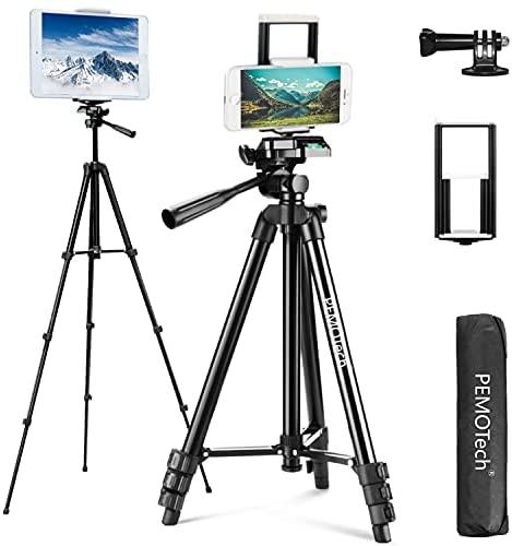 Trípode para Móvil y Tablet, PEMOTech 50´´ Trípode de Aluminio, Pata, Ligero y Portátil con 2 en 1 Soporte de Tablet y Móvil, Adaptador Gopro, Remote Bluetooth, Compatible con iPhone/iPad/Cámara/GoPro