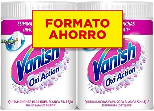 Vanish Oxi Action – Quitamanchas y Blanqueador para Ropa Blanca, en Polvo, Sin Lejía – Pack de 2 x 900 g