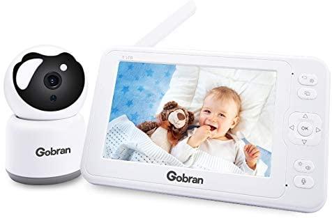 Vigilabebés con Cámara 5 ´´1080p HD Pantalla 360 ° Expandible 4 Cámaras, Videovigilancia, Bebé Monitor Inteligente Grabación y Reproducción Video, VOX,Zoom,Visión Nocturna y Sensor de Temperatura