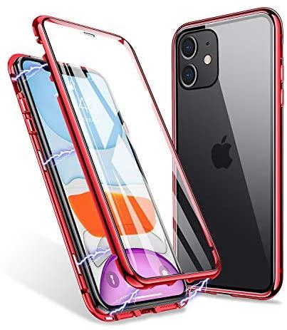 ZHIKE Funda para iPhone 11, Estuche de Adsorción Magnético Frente y Parte Posterior de Vidrio Templado Cobertura de Pantalla Completa Diseño de una Pieza Cubierta con Tapa para iPhone 11(Rojo Claro)