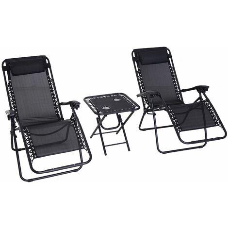 Conjunto de 1 Mesa y 2 Tumbonas con Respaldo Reclinable Textilene Acero Negro