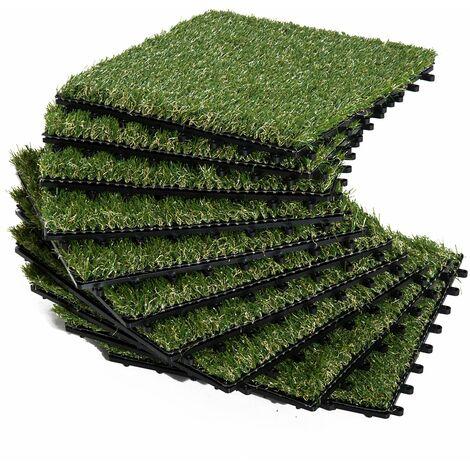 Césped Artificial 30x30cm 10 Piezas Alfombra o Estera de Hierba Sintética Jardín