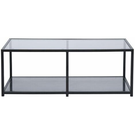 Mesa de centro rectangular gris ceniza de diseño industrial