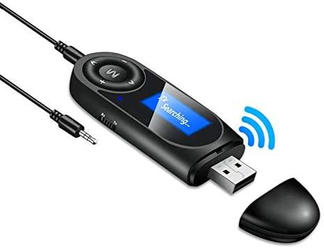 Abafia Adaptador Bluetooth V5.0, 2 en 1 Receptor Bluetooth y Transmisor Bluetooth USB con Audio Inalámbrico 3.5MM para PC/TV/Coche/Hogar/Radio/Auriculares/Altavoces/Proyector