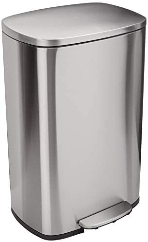 Amazon Basics Rectangle Soft-Close Trash Can for Narrow Spaces – 10L