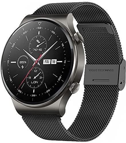 ANMI Smartwatch Mujer, Reloj Inteligente Hombre Deportivo 1.3 Pulgadas Táctil Completa IP68, Monitor de Sueño, Control de Musica(Negro Acero)