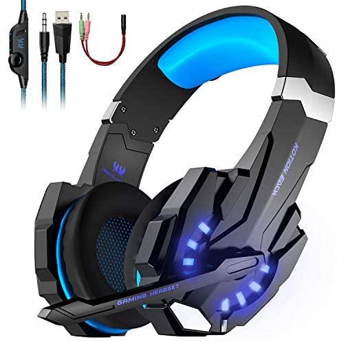 Auriculares Gaming con Microfono, Cascos Gaming, Auriculares para Juegos para PS4 / PC/Xbox One/Switch/Tableta/Celular, Headset Estereofónico con Fantástico LED Luces, Micrófono Antiruido (G9000)