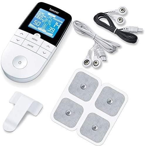 Beurer EM49 – Electroestimulador digital, para aliviar el dolor muscular y el fortalecimiento muscular, masaje, EMS, TENS, pantalla LCD azul, 2 Canales, 4 electrodos autoadhesivos, color blanco