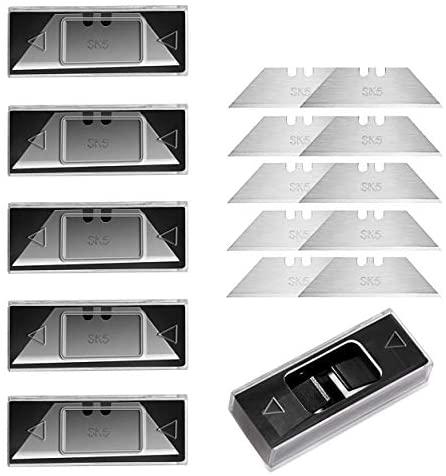 BIBURY cuchillas profesionales trapezoidales PACK 5, 50 Piezas para cortador plegable profesional, Cuchillas de repuesto para cúter plegable