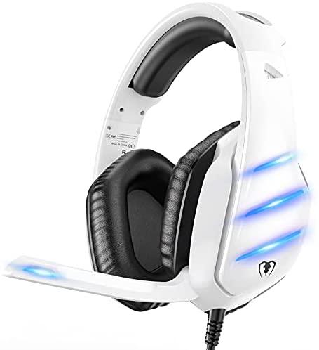 Cascos Gaming ps5, Auriculares ps4 con Graves Envolventes 3D para ps4/ps5/xbox One/PC/Laptop, Micrófono de Reducción de Ruido con LED, Diadema Ajustable, Almohadillas Suaves de Proteína