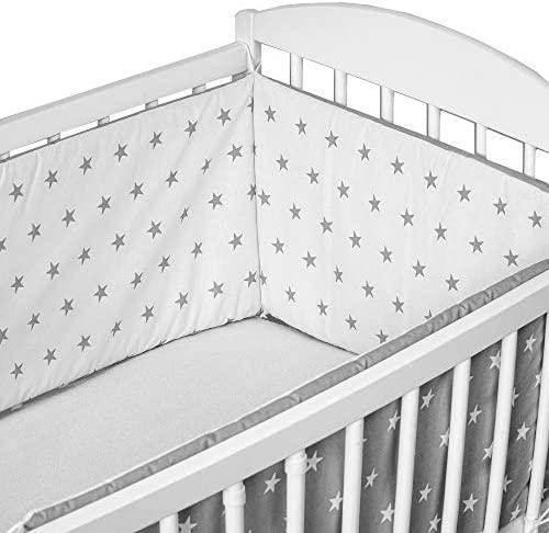 cojin protector cuna – chichonera bebe cuna (blanco-gris con estrellas, 420 x 30 cm)