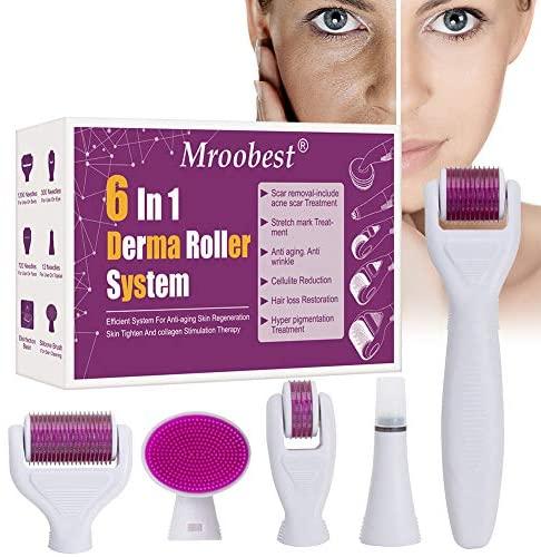 Derma Roller, Rodillo Agujas, Microneedle Derma Roller, Sistema de microagujas 6 en 1 por para reducir arrugas, puntos oscuros, cicatrices, celulitis, estrías para usar en cara, ojos, cuerpo