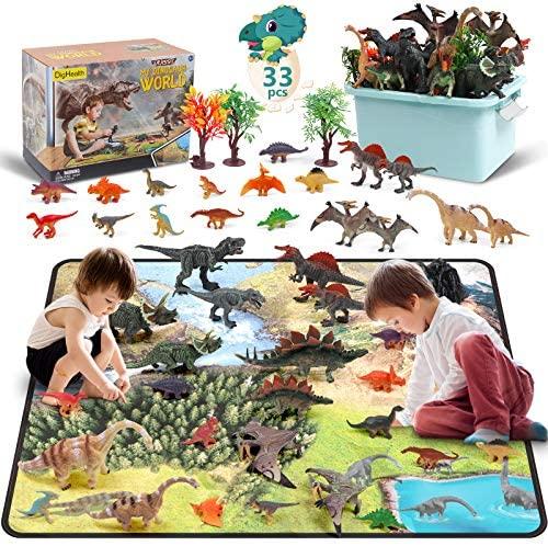 DigHealth 33 Pcs Dinosaurios Juguetes, Figura de Dinosaurios con Tapete de Juego y Arboles, Incluir Tyrannosaurus, Triceratops, Pterodactyl para Niños