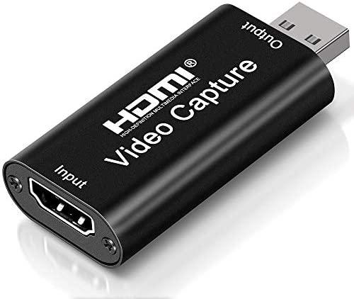 DIWUER Capturadora de Video HDMI, 4K HDMI a USB 2.0 Convertidor Video Audio, HDMI Vídeo Game Capture 1080P 30FPS para Edite Video/Juego/Transmisión/Enseñanza en línea