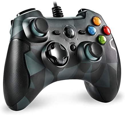 EasySMX Mando para PC, [Regalos] PS3 Gamepad Alámbrico, Joystick con los Botones de Doble-Vibración Turbo y Trigger Compatible con Windows/Android/ PS3 (Camuflaje)