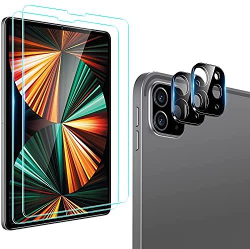 ESR Pack 2 Protectores de Pantalla compatibles con iPad Pro 12.9 2021/2020 (5ª/4ª Gen), Incluye 2 Protectores para Lente, película Cristal Templado, Resistente a Huellas y a arañazos