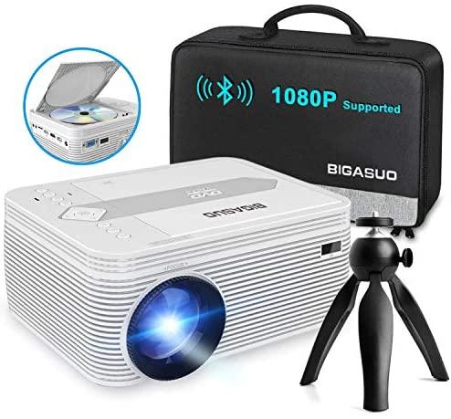 """Full HD Bluetooth Proyector, BIGASUO Mini Proyector soporte 1080P Proyector portátil con DVD, Pantalla de 200"""", Proyector de cine LED 55,000H con trípode, compatible con TV Sticks, PS4, USB y Micro SD"""