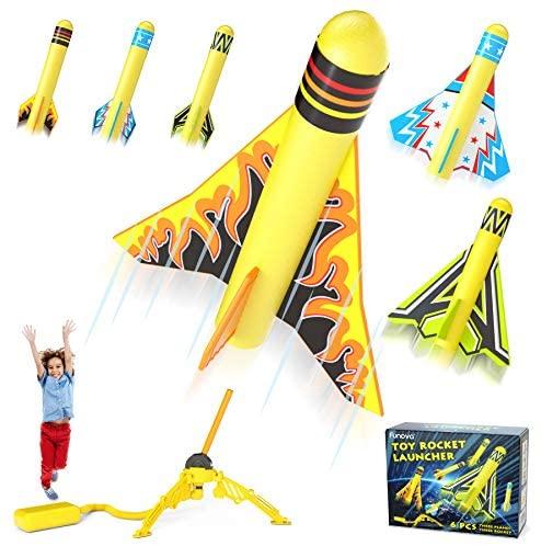 FUNOVA Lanzador de Cohetes de Juguetes para Niño – Cohete Espacial con 3 Cohetes de Espuma 3 Aviones Acrobáticos y Almohadilla de Lanzamiento Juguete Regalo para Niños y Niñas de 3 4 5 6 7 8 9 Años