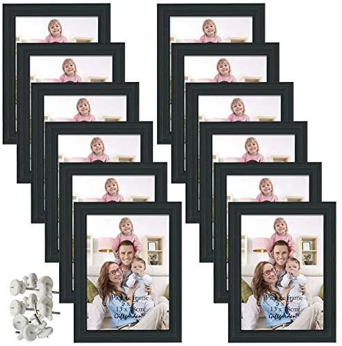 Giftgarden Marcos de Fotos Multiples 13×18 de Pared y Mesa, Conjunto de Portafotos Negros de Madera, Diseño Sencillo y Moderno, 12 Piezas