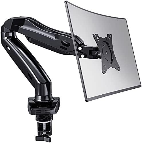 HUANUO Brazo Singular de Monitor Pantallas LCD LED de 13-27 '', Brazo de Resorte de Gas Giratorio de 360°, 2 Métodos de Montaje Opcionales, Soporte VESA 75-100 mm y Peso 2-6.5 kg