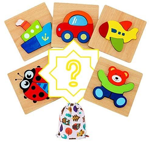 IMMEK Juguetes Bebes Puzzle de Madera para Niños y Niños 1 Año 2 3 4 5 Años Montessori Educativos Rompecabezas Juegos Regalos Aprendizaje 3D Animales y Vehículos 5 Piezas + 1 Patrón Aleatorio