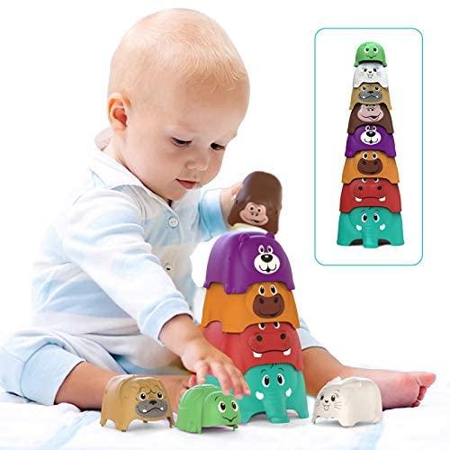 Juguetes Apilables Bebé (8 Piezas), Toymus Juguete de Taza Apilable, Juguetes Educativos Apilables, Regalos para Bebes Cubos Apilables Se Pueden Usar en Baños y Playas
