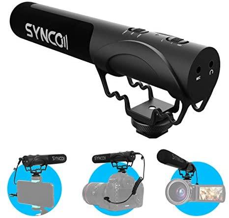 Micrófono Cámara Reflex, SYNCO Mic M3 Shotgun Microphone Externo Camara de Video Direccional Condensador Compatible para Canon, Sony, Nikon, Panasonic, Microfono-Camara-Reflex-DSLR-Externo
